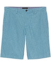Mens Blue Emerson-Fit Aqua Plaid Shorts