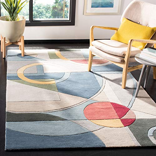 Safavieh Rodeo Drive Collection RD845B Handmade Modern Abstract Art Blue and Multi Wool Area Rug (6' x 9')