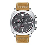 AIMANT Men's Watch Dakar Silver with Camel Leather Band GDA-230L5-8S