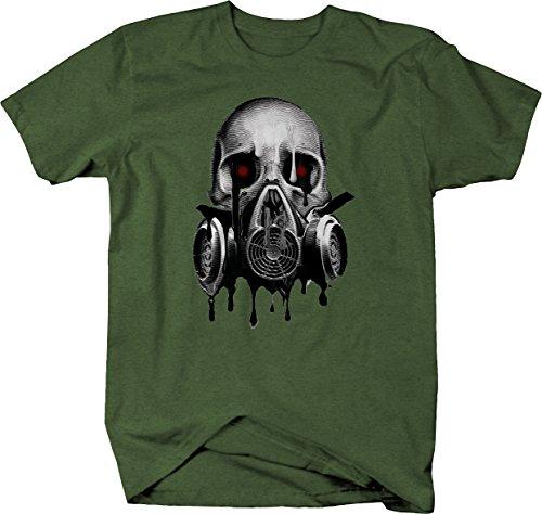 - Melting Skull Gas Mask Blood Red Eyes Tshirt - Medium