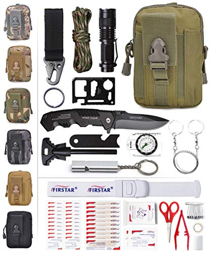 Medical Adventure Kits Gear (ETROL Best Gift Emergency Survival Kit-First Aid Kit Tactical Molle Pouch, New Upgraded 90-in-1 Outdoor Emergency Survival Kit Gear for Camping Boat Hunting Hiking Home Car Earthquake (Army Green))