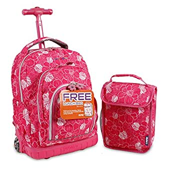 J World New York Lollipop Kids' Rolling Backpack with Lunch Bag, Aloha