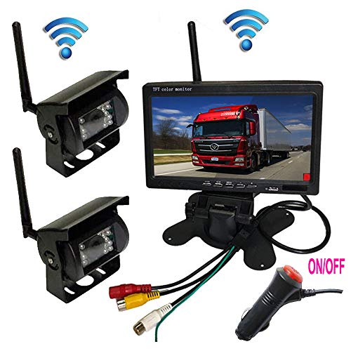 Wireless Vehicle Backup Camera Kit 12V/24V,2 x 18 LED IR Night Vision Waterproof Rear View Camera + 7