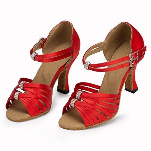 Meijili Peep frauen Salsa Schuhe Morden Satin Dance Toe Sandalen Professionelle Party Hochzeit Rot Ballsaal Latin Tango rRr1q5w