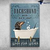 Marlyn_Store Dachshund in Bath Tub Bathroom