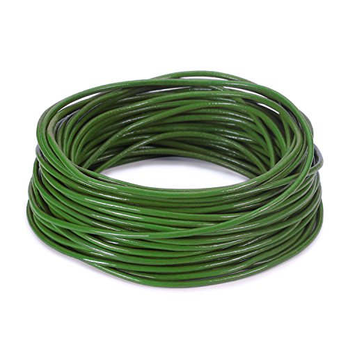 BEADNOVA 1.5mm Genuine Round Leather Cord Leather Strips For Jewelry Making Bracelet Necklace Beading, 10 Meters/ 11 Yards, Green (Green Leather Cord)