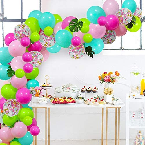 Jungle Party Decorations Tropical Balloons Safari Party Decor Chrome Gold Green Pineapple Balloon Decorations Luau Party Decorations