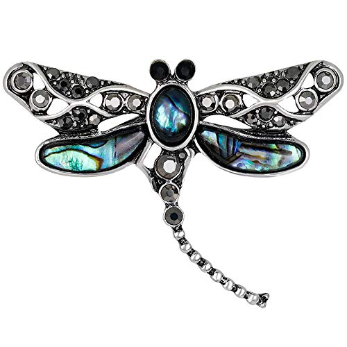 Stylebar Dragonfly Brooch Pins for Women Girls Animal Brooches Broaches Abalone Shell Vintage Silver Tone ()