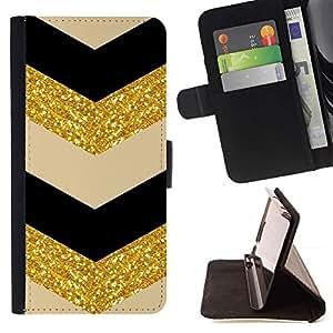 For Samsung Galaxy Core Prime / SM-G360 Case , Glitter Chevron Negro Beige Bailarín- la tarjeta de Crédito Slots PU Funda de cuero Monedero caso cubierta de piel