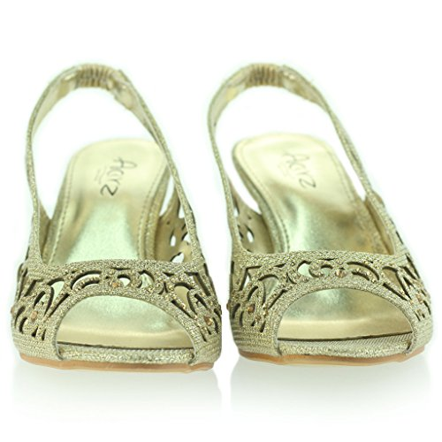 Mujer Señoras Noche Fiesta Boda Peep Toe Slingback Diamante Tacón Medio Sandalias Zapatos Talla Oro