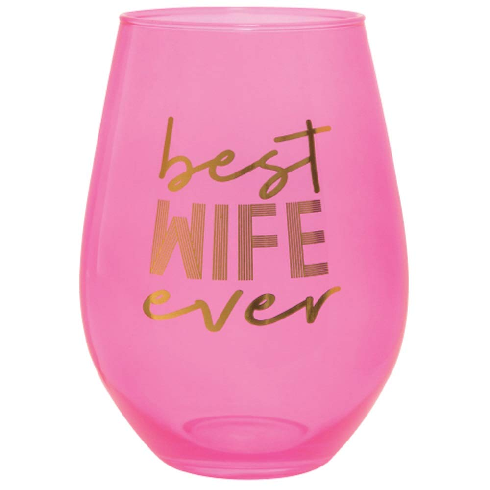 30oz Pink Stemless Wine Glass - Best Wife Ever.