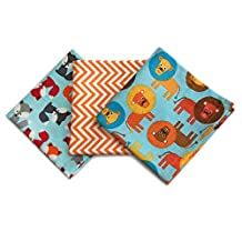 FUNKINS Reusable Cloth Lunchbox Napkins for Kids, Set of 3 Lions & Foxes Theme