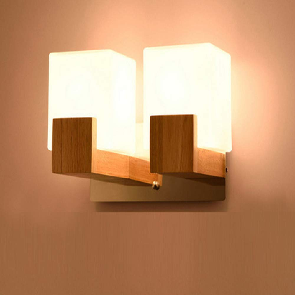 Moderne led holz wandleuchte nordic mattglas holz lampe korridor hotel schlafzimmer einfache massivholz wandleuchte