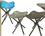 Four Legged Folding Camp Stool with Carry Sleeve and Shoulder Strap by CampingMaxx – Set of 2