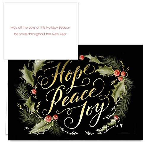 Chalkboard Holly Wreath Holiday Card Pack - Set of 36 cards - 2 designs, versed inside with envelopes Photo #3
