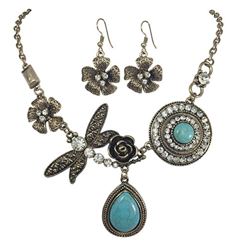 - Unique Simulated Turquoise with Dragonfly Vintage Look Necklace & Dangle Earring Set (Burnished Gold Tone)