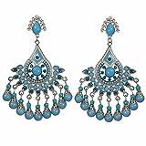 Large Rhinestone and Resin Beaded Post Dangle Bohemian Style Chandelier Earrings (BLUE Silver Tone)