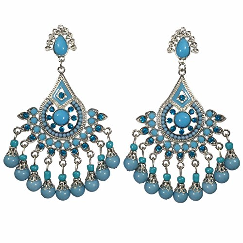 (Large Rhinestone and Resin Beaded Post Dangle Bohemian Style Chandelier Earrings (BLUE Silver Tone))