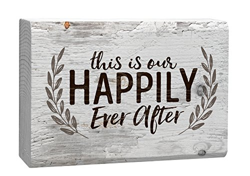 This Is Our Happily Ever After Laurel Wreath White 4 x 5 Inch Solid Pine Wood Barnhouse Block (Wood Block Decor)