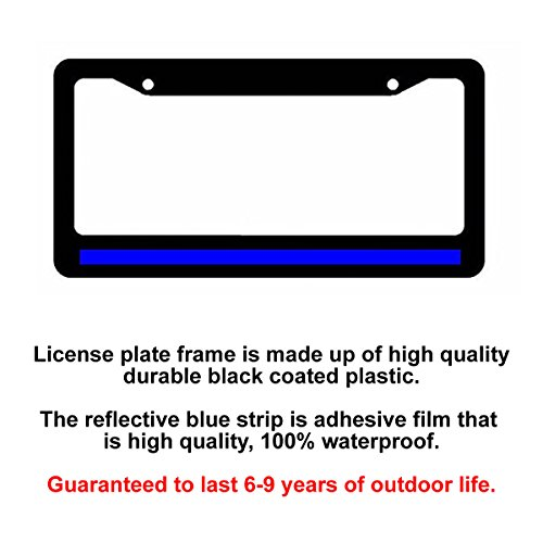 Amazon.com: Reflective Thin Blue Line Support Police Black License ...