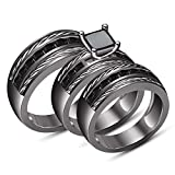 TVS-JEWELS Engagement Wedding Trio Ring Set in Black Rhodium Plated