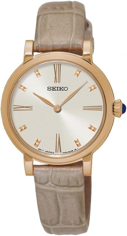 Seiko Reloj Analogico para Mujer de Cuarzo con Correa en Cuero SFQ812P1