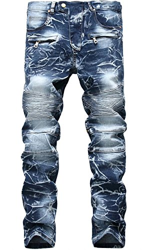 - Men's Vintage Distress Acid Wash Biker Jeans Denim Pants, 6501 Blue, W34