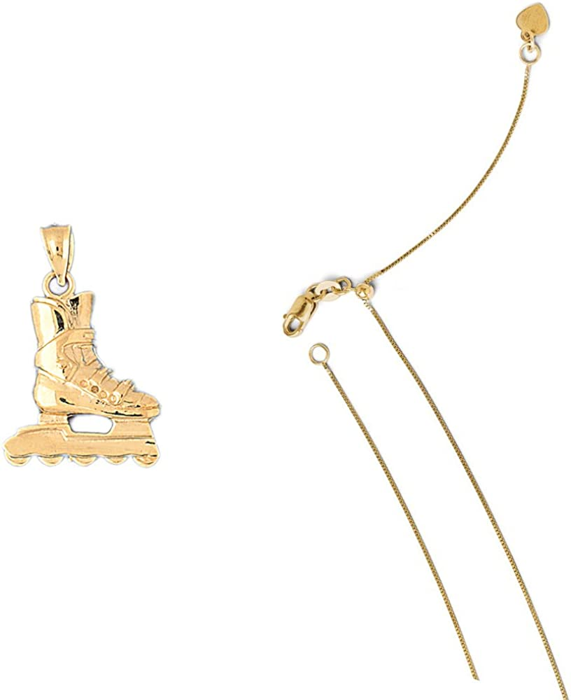 14K Yellow Gold Roller Blades Pendant on an Adjustable 14K Yellow Gold Chain Necklace