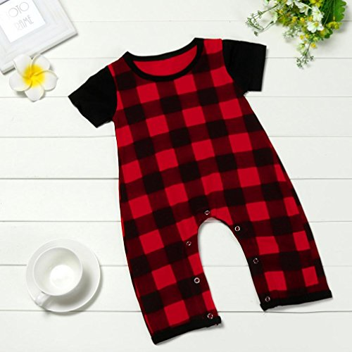 Fineser Toddler Baby Boys Girls Short Sleeve Red Plaid Jumpsuit Romper Kid Outfit Clothing