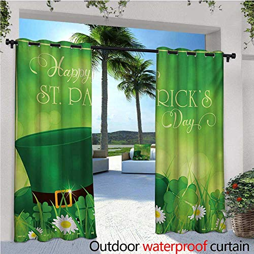 St. Patricks Day Outdoor Privacy Curtain for Pergola Happy Greetings for Cultural Day Religion Shamrock Daisy and Leprechaun Hat Thermal Insulated Water Repellent Drape for Balcony W96