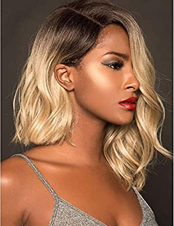 Naseily Medium Curly Bob Wig Asymmetry Ombre Blonde Curly Synthetic Wigs For Black Women Girls Hairstyles