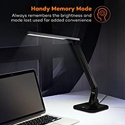 TaoTronics Desk Lamp, LED Desk Lamp with USB Charging Port( 4 Lighting Mode with 5 Brightness Levels, Timer, Memory Function) Black