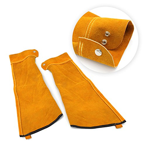 Heat Resistant Welding Sleeves,Leather Sleeves for welding, Button closure,Spark Resistant Protection,1 Pair (yellow) by Handook (Image #4)