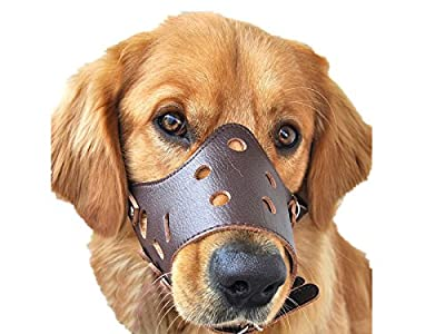 Dog Muzzle Leather, Adjustable Anti-biting Dog Leather Muzzle, Breathable Safety Pet Puppy Muzzles Mask for Biting and Barking (stop dogs from biting, barking, and chewing)