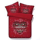3D Christmas Cross Stitch Bedding Sets Red Duvet Cover Set Heat Love Bedspreads 3 Piece Set for Teens Adults Children Boys Girls Traditional Designer (Cal King)