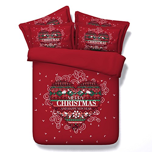 3D Christmas Cross Stitch Bedding Sets Red Duvet Cover Set Heat Love Bedspreads 3 Piece Set for Teens Adults Children Boys Girls Traditional Designer (King) by SEIAOING