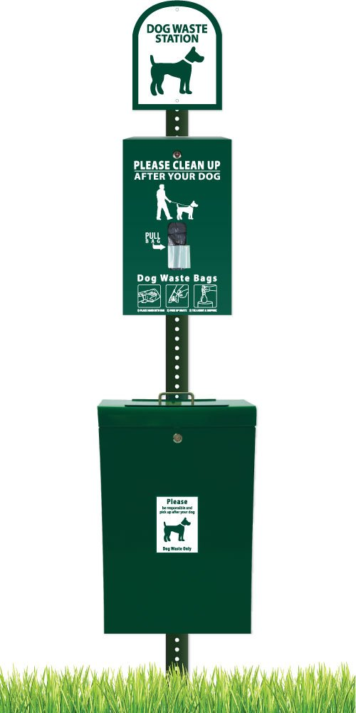 ZeroWaste Gladiator Dog Waste Station with Zero Waste Bag System