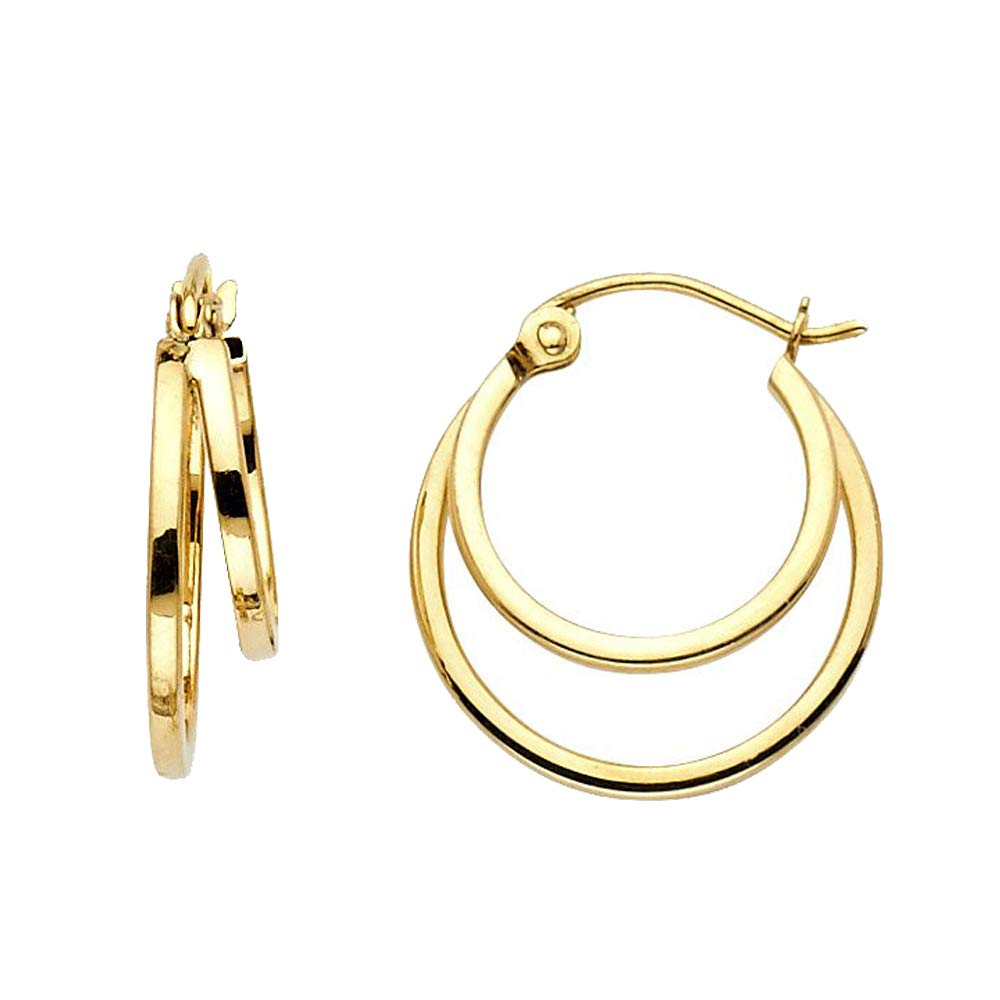 15-mm 14k Yellow Gold Double Concentric Hoop Earrings