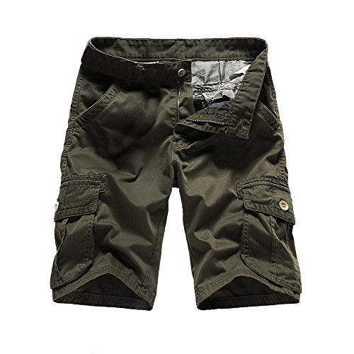 MODOQO Men's Twill Cargo Shorts, Camo Straight Multi-Pocket Cotton Lightweight Relaxed Fit Outdoor Wear