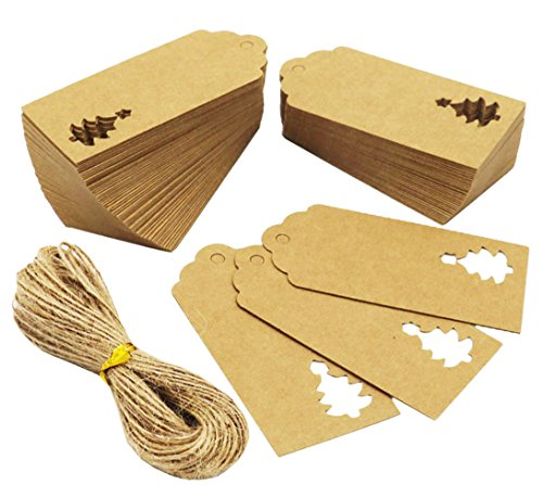 Tree Gift Sticker (SOOKOO 100 Pcs Kraft Paper Gift Tags Hollow Christmas Tree Design with 100 Feet Jute Twines for Wedding Favor Christmas (Brown))