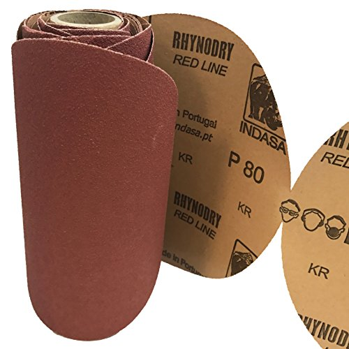 Indasa Rhynostick Discs, 80 Grit Redline, 6 Inch PSA Sandpaper, 25 Link-Roll of Aluminum Oxide Discs for DA Sander Paper to be Used in Automotive, Woodworking, Aviation and Marine Repair Projects