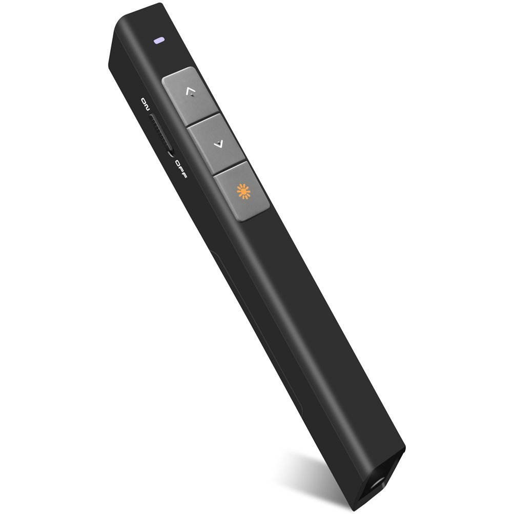 DinoFire Wireless Presenter, RF 2.4GHz PowerPoint Clicker Presentation Presenter Remote Control USB Laser Pointer