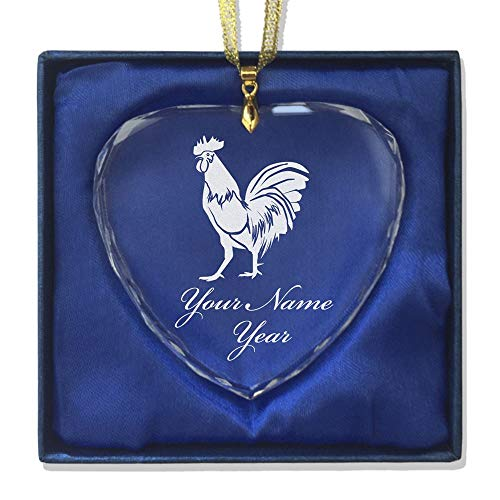 SkunkWerkz Christmas Ornament, Rooster, Personalized Engraving Included (Heart Shape)