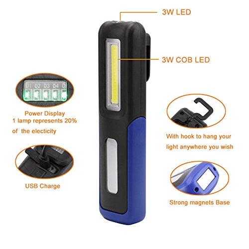 Amazon.com: Negro : Portátil COB LED linterna luz de Trabajo magnética USB linterna recargable de pantalla colgante antorcha lámpara para acampar al aire ...