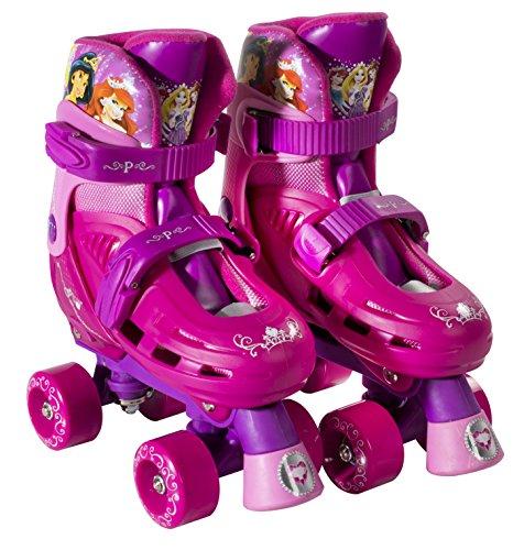 PlayWheels Disney Princess Classic Quad Roller Skates, Magenta, Junior Size 10-13