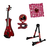 Meisel Electric Violin Pack Red w/Red Stand, Tuner & Heart Rosin
