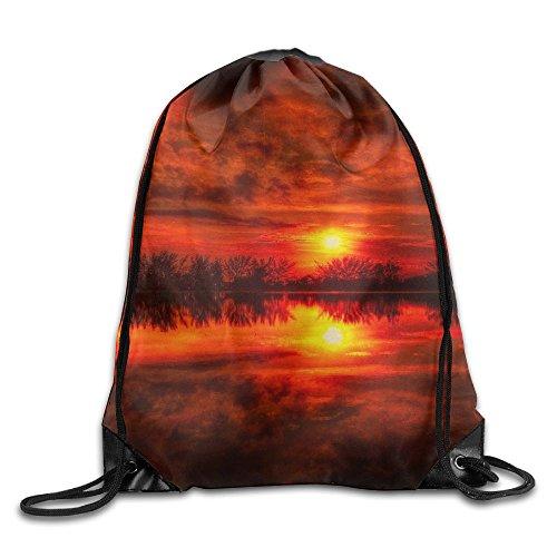 Red Sunset Reflection New Drawstring Backpack Sport Sackpack For Men & Women School Travel Bag ()
