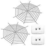 Petift Giant Spider Web(2 Pack 9 Ft),Super Stretch Cobweb(2 Pieces) and 4 Fake Realistic Spiders Set for Halloween Party Decor Decorations Outdoor,Garden,Yard Decoration Props,White
