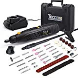 "Cordless Rotary Tool TECCPO 12V 2.0Ah Li-Ion Battery Powered with Variable 6-mode Speed, Flex Shaft and Collet Size 1/32""-1/8"" Inch, 80pcs Accessories for Crafting Projects and DIY Fine Work TDRT03P"