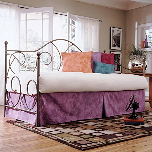 Leggett & Platt Caroline Complete Metal Daybed with Link Spring Support Frame and Gently Sloping Back and Side Panels, Flint Finish, Twin